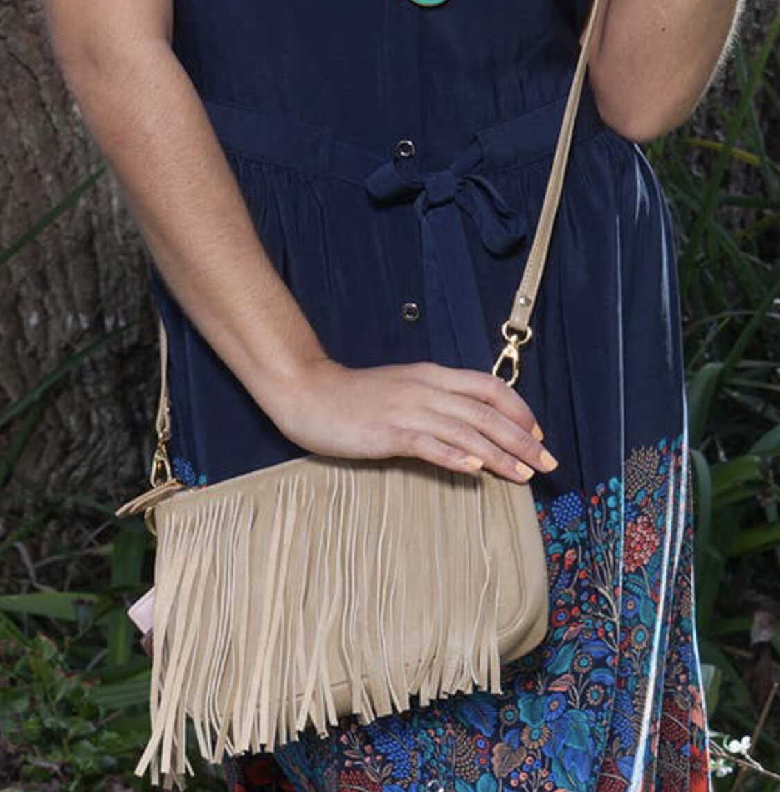 Willow Fringe Bag-Tan