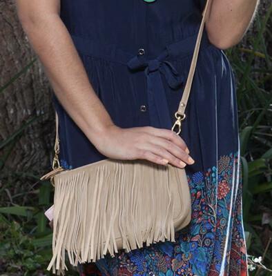 Willow Fringe Bag-Tan