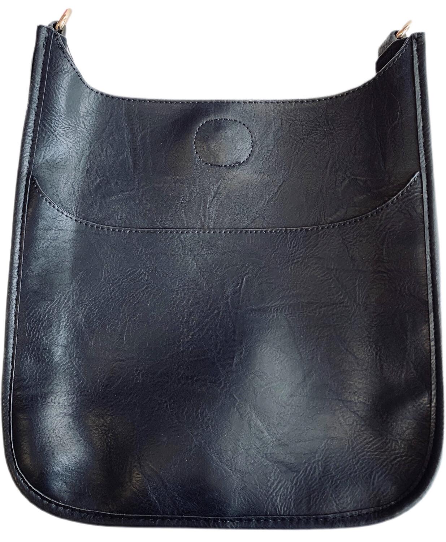 Vegan Leather Messenger-Black