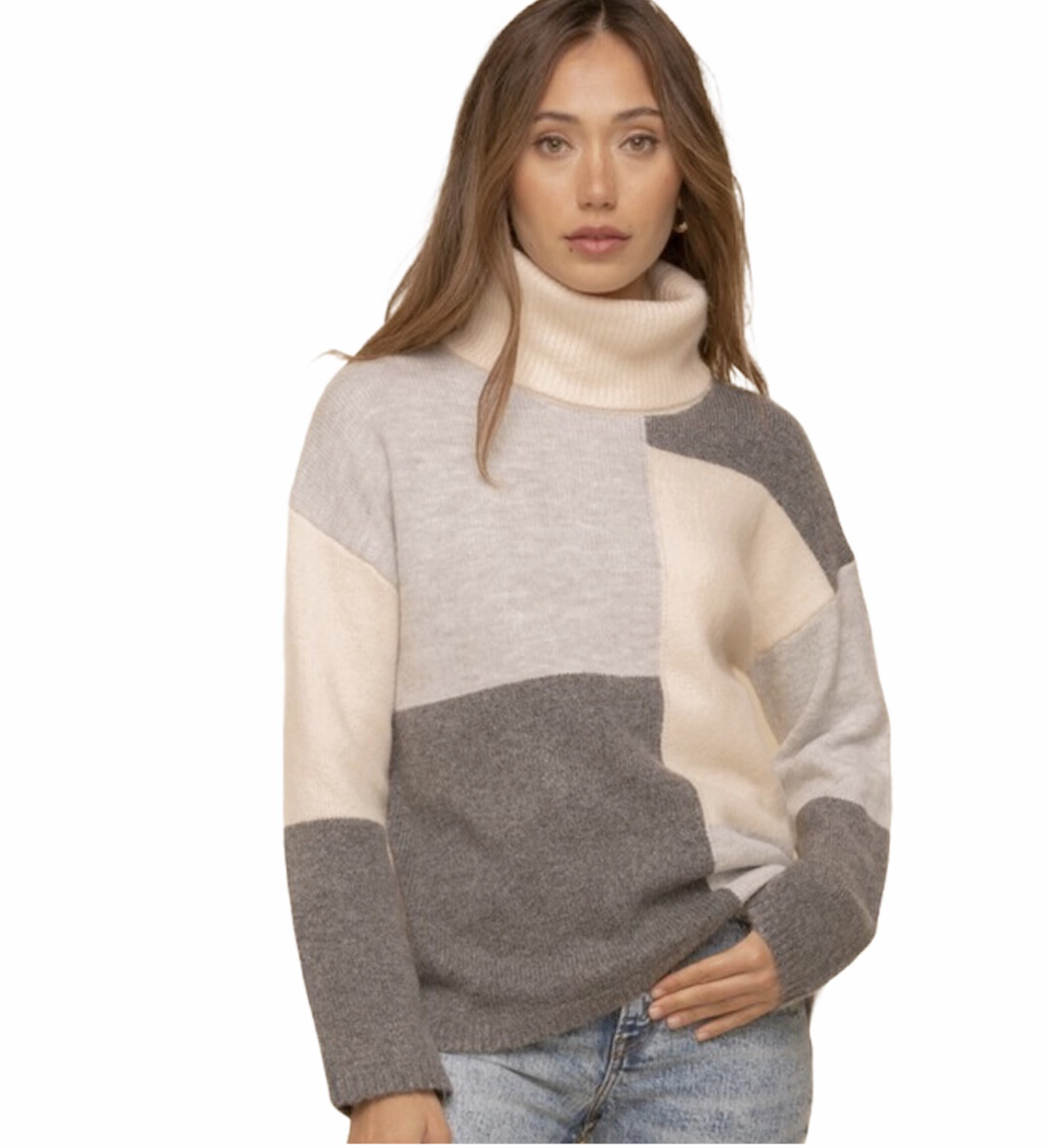 Colorblock Turtle Neck Sweater
