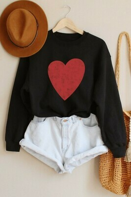 Big Heart Pullover-Blk