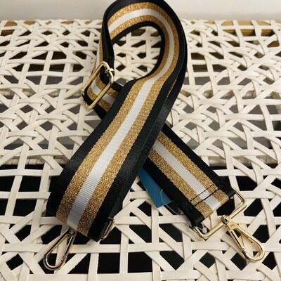 Metallic Stripe Bag Strap-Blk