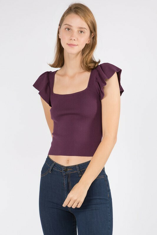 Ruffle Tee-Purple