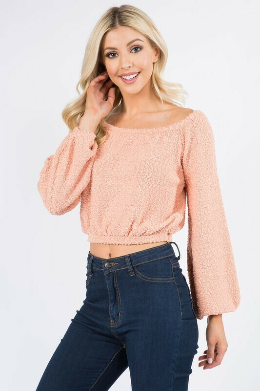 Popcorn Knit Crop-Peach
