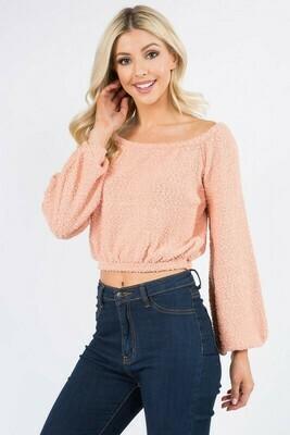 Popcorn Knit Crop-Peach