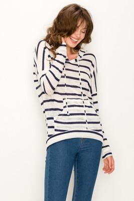 Stripe Sweater Hoodie-Wht