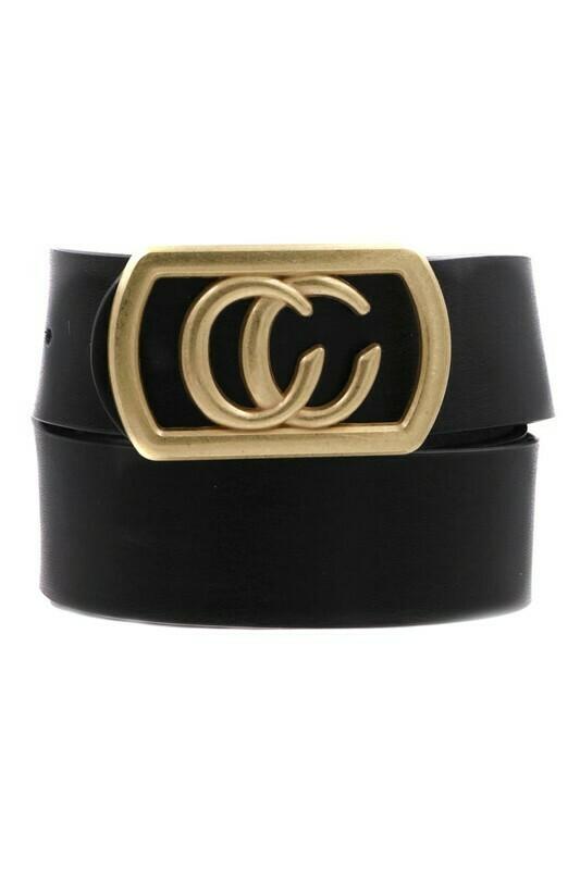 Double C Belt-Blk Gld