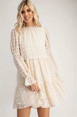 Dotty Boho Dress-Cream