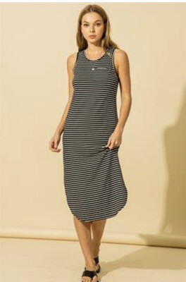 Softy Stripe Midi Dress