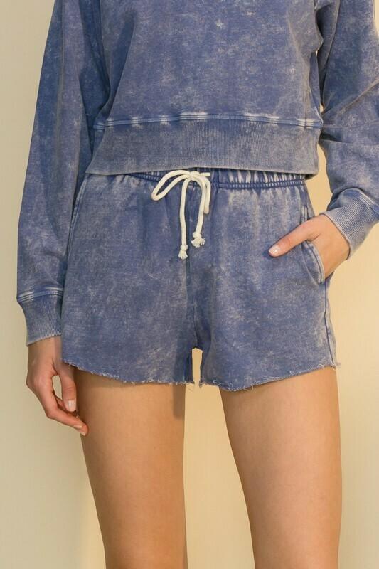 Acid Wash Shorts-Indigo