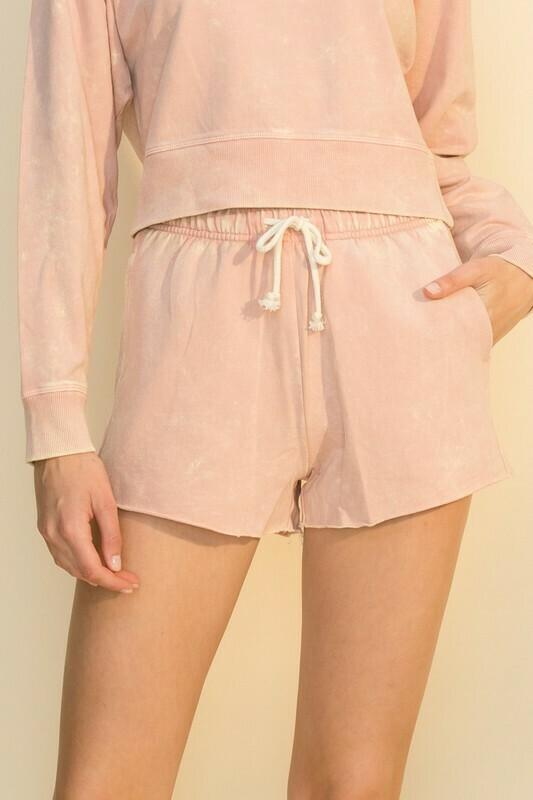 Acid Wash Shorts-Rose