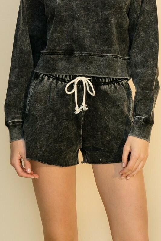 Acid Wash Shorts-Black