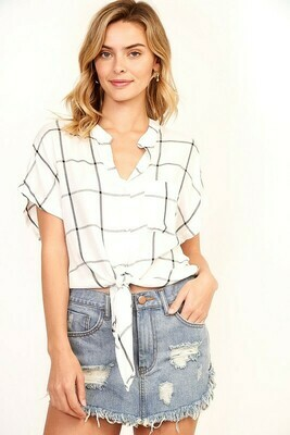Cropped Grid Blouse