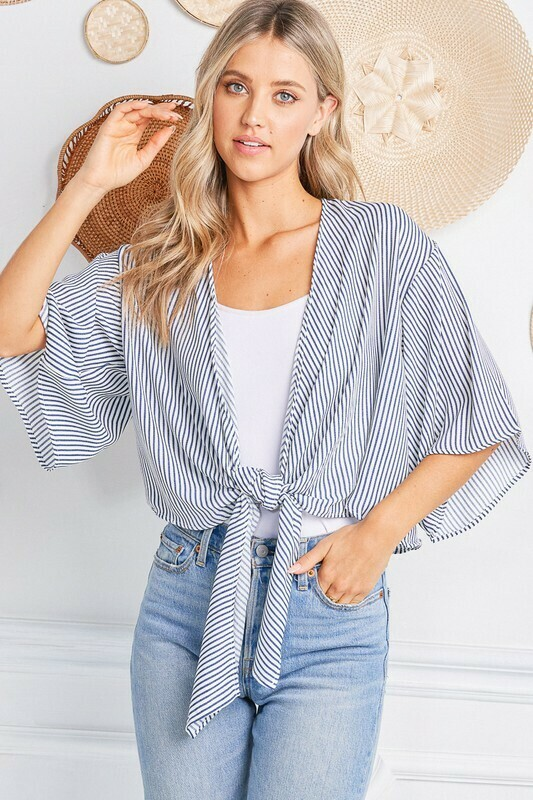 Candy Tie Cardi-Chambray