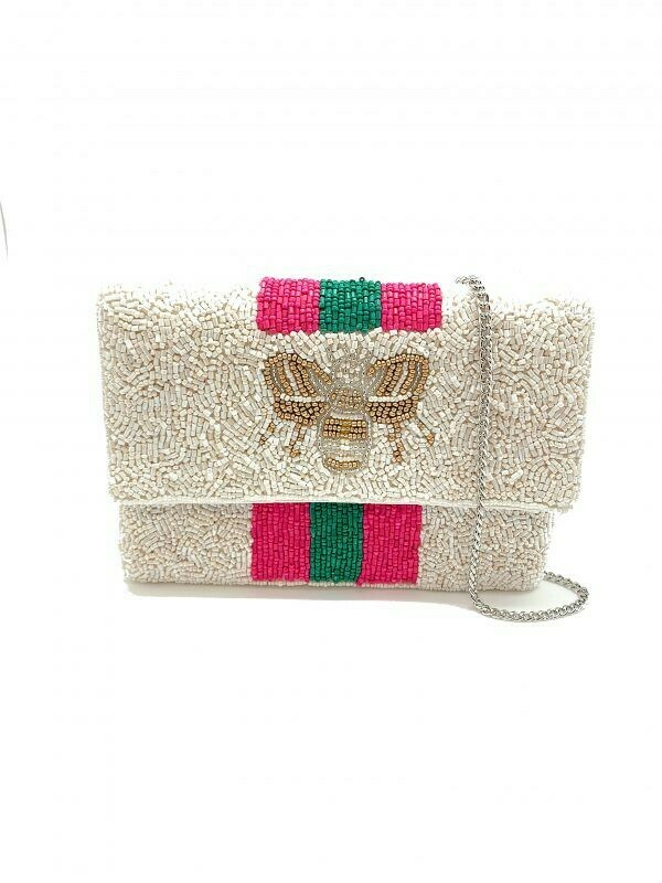 Mini Bee Beaded Bag-Pink