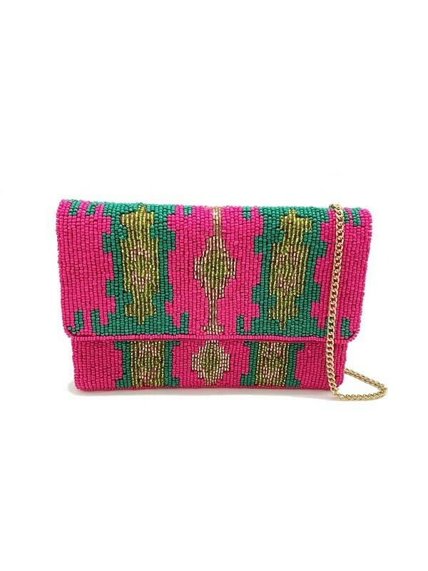 Mini Aztec Beaded Bag-Pink