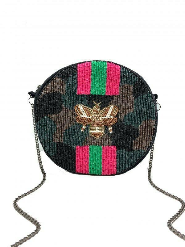 Round Camo Beaded Bag