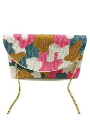 Camo Beaded Bag-Pink