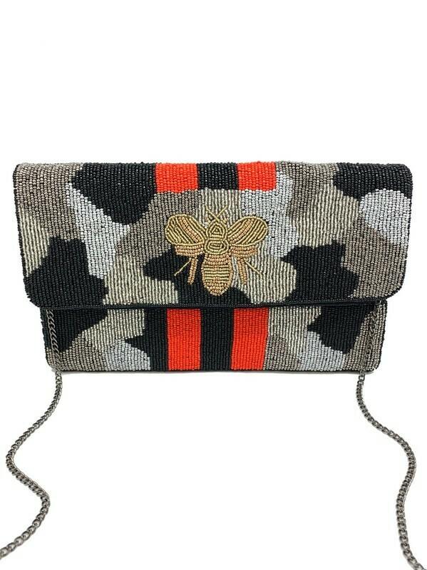 Camo Bee Beaded Bag