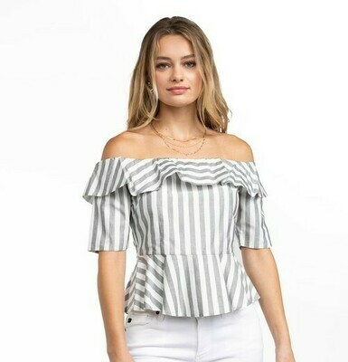 Beth Stripe Top-Blk