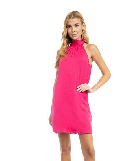 Hi Neck Halter Dress-Pink