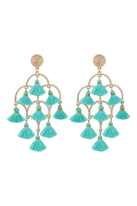 Tassel Earring-Blue