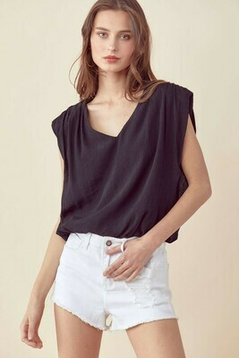 Bette V Neck-Blk