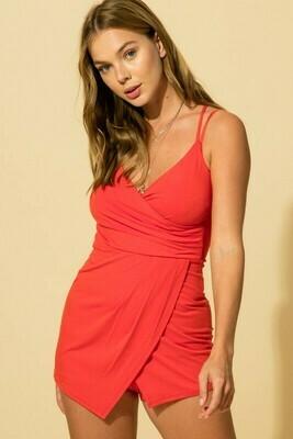 Hallie Wrap Romper-Red