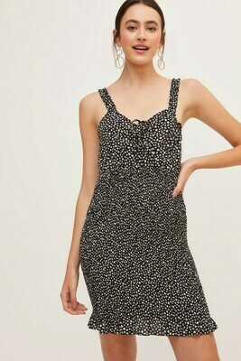 Smocked Dot Dress-Blk