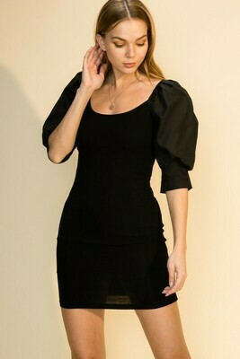 Puff Sleeve Dress-Blk