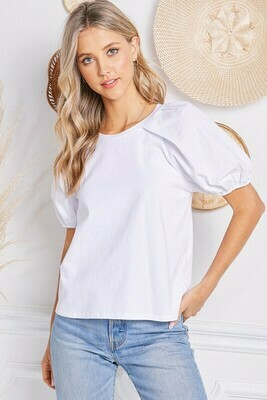 Puff Sleeve Tee-White
