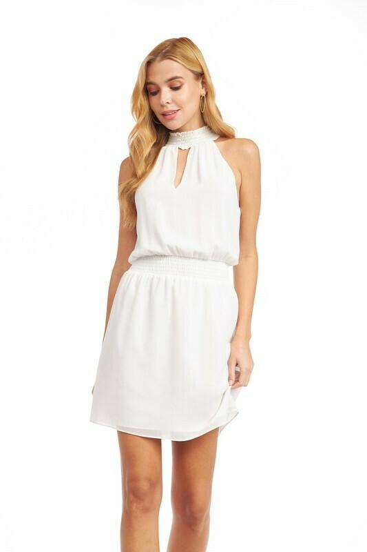 Heather Halter Dress-Wht