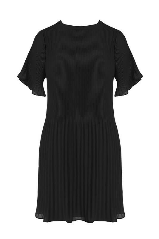 Pleated Mini Dress-Blk