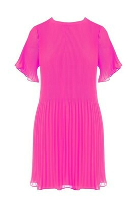 Pleated Mini Dress-Pink