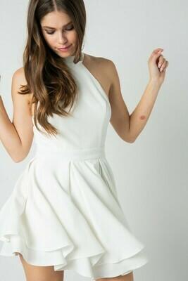 Flirty Halter Dress-Wht