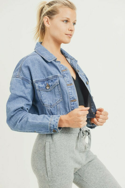 Cinched Waist Denim Jkt