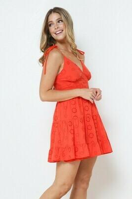 Eyelet Mini Dress-Red