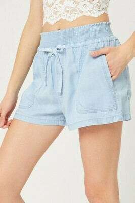 Chambray Shorts-Lt BLue