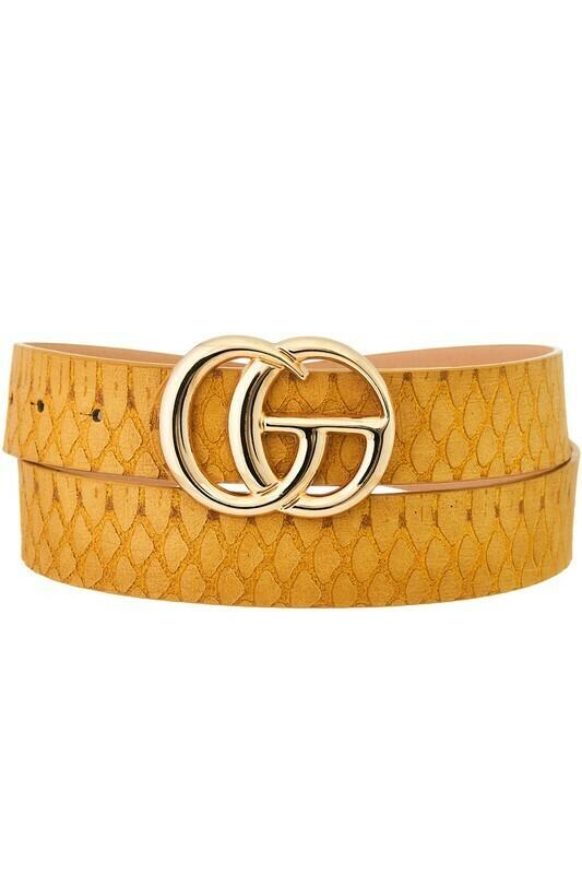 Snake Texture Double G Belt-Mustard