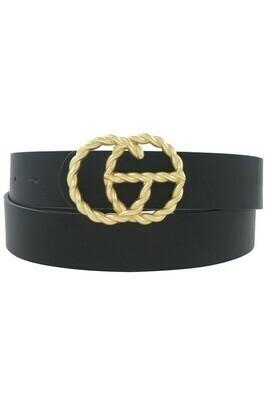 Double G Twist Belt-Blk