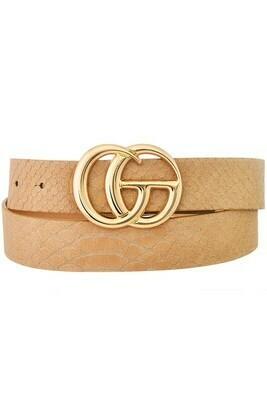 Snake Texture Double G Belt-Beige