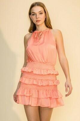Rebecca Ruffle Dress-Salmon