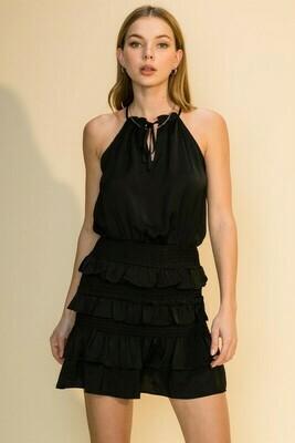 Rebecca Ruffle Dress-Blk