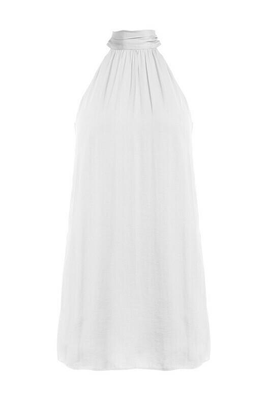 Hi Neck Halter Dress-Wht