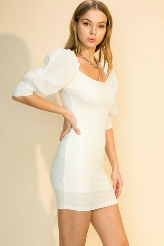 Puff Sleeve Dress-Cream
