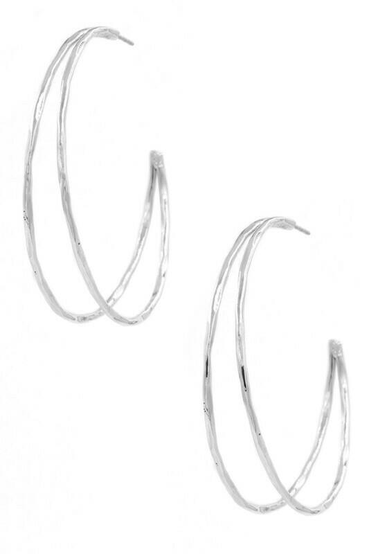 Open Hoop Earrings-Silver