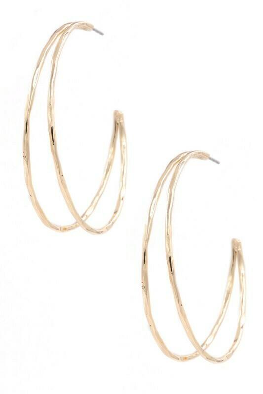 Open Hoop Earrings-Gold
