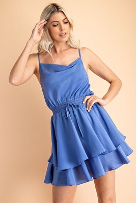 Jami Cowl Neck Dress-Blue