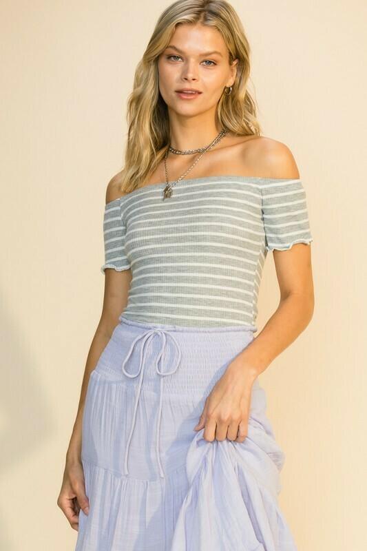 Stripe Off Shoulder-Gry
