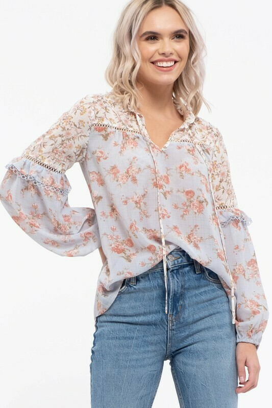 Mix Print Lace Blouse